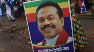 Election poster of former Sri Lankan President Mahinda Rajapaksa (17 August 2015)