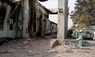 The damaged MSF hospital in Kunduz, pictured 10 days after the attack