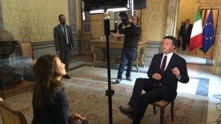 Katya Adler interviews Italian PM Matteo Renzi, Palazzo Chigi, Rome, 28 September 2016