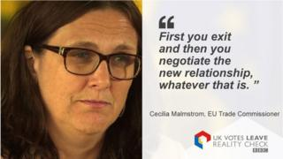 """Cecilia Malmstrom saying: """"First you exit and then you negotiate the new relationship, whatever that is."""""""