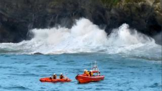 Lifeboats involved at rescue at Fistral Beach in Cornwall