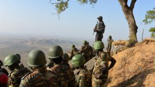 Cameroon's army forces patrol on Febuary 16, 2015 near the village of Mabass, northern Cameroon.