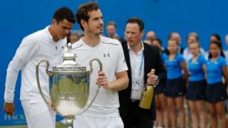 Andy Murray with the Queen's Club trophy