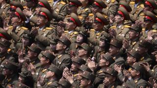 North Korean troops applauding