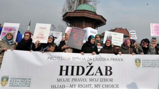 "Hundreds of Muslim women wearing the traditional Muslim headscarf also known as hijab protest in Sarajevo""s historical center, on February 7, 2016"