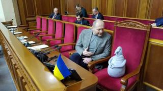 Borislav Bereza and the stuffed toy