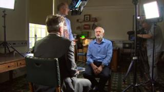 Peter Henley interviewing Jeremy Corbyn