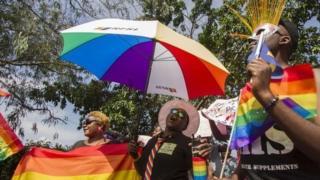The Gay Pride parade in Entebbe, Uganda