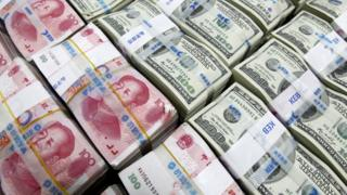 Yuan notes and dollar notes