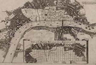 Robert Hooke's (attributed) plan for rebuilding London after the Great Fire, 1666