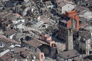 An aerial view of damage in Amatrice, 1 September