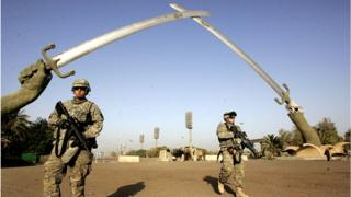 Soldiers on patrol in Baghdad's so-called Green Zone