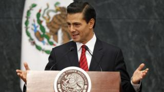 Mexico's President Enrique Pena Nieto delivers a statement at the Official Residence Los Pinos in Mexico City, Mexico, 09 November 201
