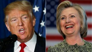 This file photo shows a combination of file photos of Republican presidential hopeful Donald Trump and his Democratic rival Hillary Clinton