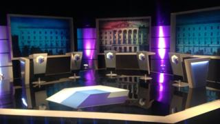The set for the debate which is being broadcast on BBC One Northern Ireland