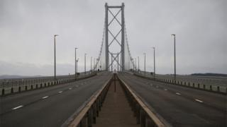 A view of the Forth Road Bridge which is closed to traffic until the New Year due to structural faults