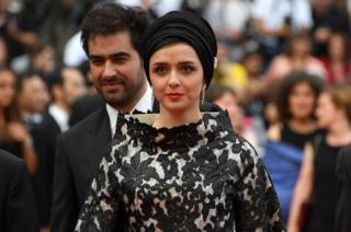 The Salesman stars Shahab Hosseini and actress Taraneh Alidoosti pose in Cannes on May 22, 2016