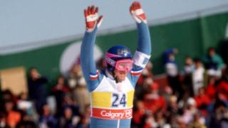 Eddie 'The Eagle' Edwards on a ski slope