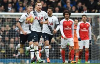 Tottenham's Harry Kane after scoring Spurs' second goal against Arsenal during the north London derby at White Heart Lane