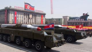 This file photo taken on April 15, 2012 shows Musudan-class missiles being displayed during a military parade