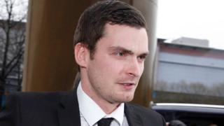 Adam Johnson arriving at Bradford Crown Court