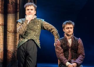 Joshua McGuire and Daniel Radcliffe in Rosencrantz and Guildenstern are Dead