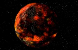 illustration of moon covered in magma ocean