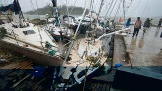 Damaged boats in Port Vila in the aftermath of Cyclone Pam in March 2015