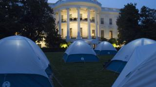Tents for Girl Scouts to spend the night on the South Lawn of the White House in Washington, DC, June 30, 2015. Fifty Girl Scouts will spend the night on the White House lawn in camping tents as part of the 'Let's Move' campaign to fight childhood obesity and increase nutrition awareness.