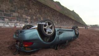 sports car plunges 20ft off coastal path into the sea bbc news. Black Bedroom Furniture Sets. Home Design Ideas