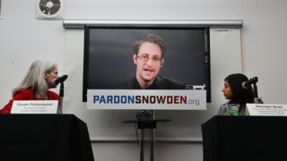 Edward Snowden speaks via video link at launch of Pardon Snowden campaign on 14 September in New York