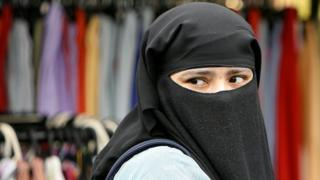 Woman wearing face veil in east London in 2006