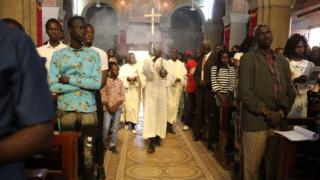 Christians attend a Christmas Mass at St. Matthew's Cathedral Church in Khartoum