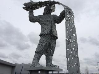 """The Steelman"" sculpture at Ravenscraig"