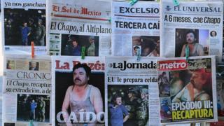 "Newspapers in Mexico City show pictures of drug kingpin Joaquin ""El Chapo"" Guzman on their front pages"