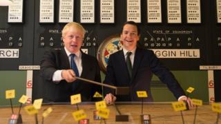 Boris Johnson and George Osborne visit the Battle of Britain command bunker in Henley, London
