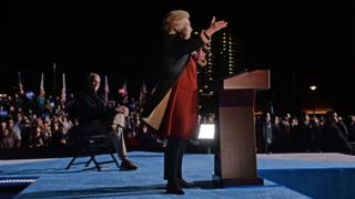 Hillary Clinton attends a campaign event with her running mate Tim Kaine, 22 October, at Penn Park in Philadelphia, Pennsylvania
