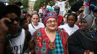 Camila Batmanghelidjh at a protest held shortly on Whitehall after Kids Company's closure