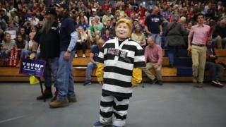 """""""Lock her up"""" chants, """"Hillary for prison"""" T-shirts and jailbird costumes were all features of Donald Trump's campaign rallies"""