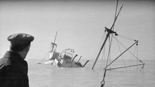 Un barco hundido en 1948 en los Goodwin Sands