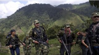 Farc rebels walk in Antioquia state, in the northwest Andes of Colombia, 6 January 2016