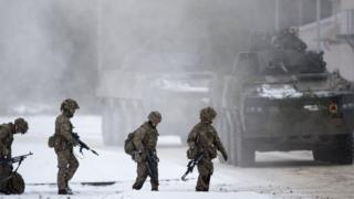 Nato military exercise at a training range in Pabrade, north of the Lithuanian capital Vilnius - 2 Dec 2016