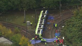 Overturned tram