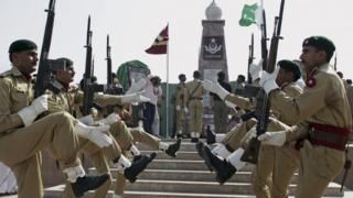 """Pakistan""""s army soldiers participate in a ceremony to mark Pakistani Defense Day, in Islamabad"""