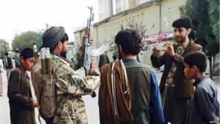 Taliban fighter in main square in Kunduz, 29 September 2015