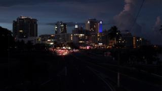 A general view of a blackout during a power outage in San Juan, Puerto Rico, on 21 September