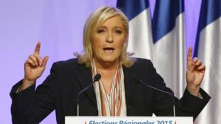 Marine Le Pen during campaigning for the 2015 regional elections