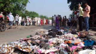 Belongings of the victims near the site of a stampede at the Rajghat bridge, near Varanasi, India
