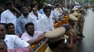 Supporters of Tamil Nadu state leader Jayalalithaa Jayaram gather in front of a hospital where she was being treated in Chennai on December 5, 2016.