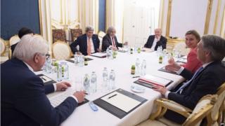 World powers delegates meet at Palais Coburg Hotel in Vienna (14 July 2015)
